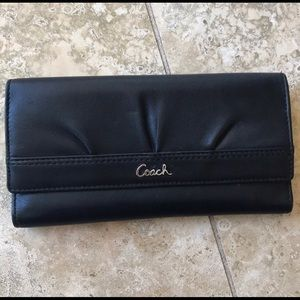 Coach leather credit card id wallet black